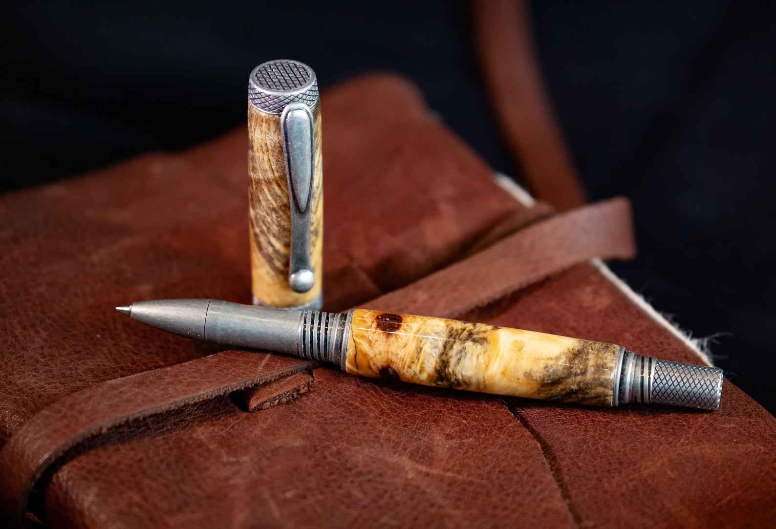 Luxury Rollerball Pen with Antique Silver components